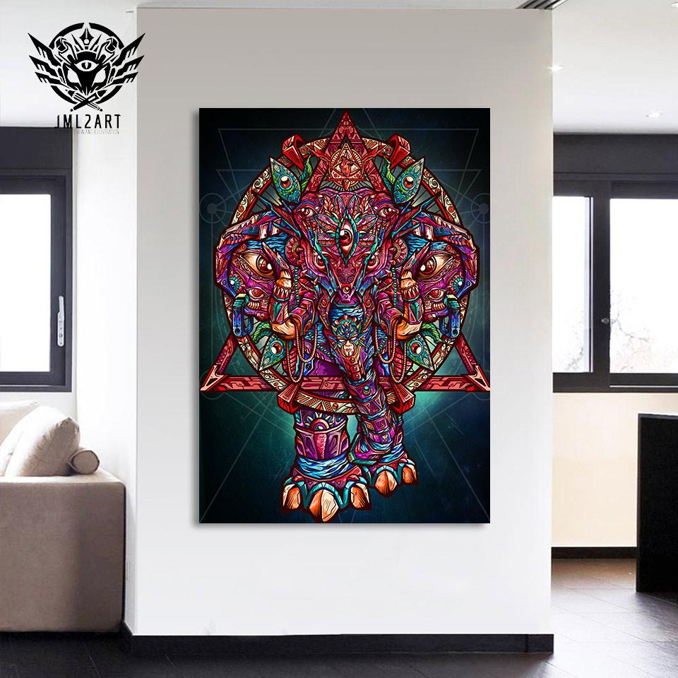 Color Elephant By jml2arts 1-Piece Canvas Painting