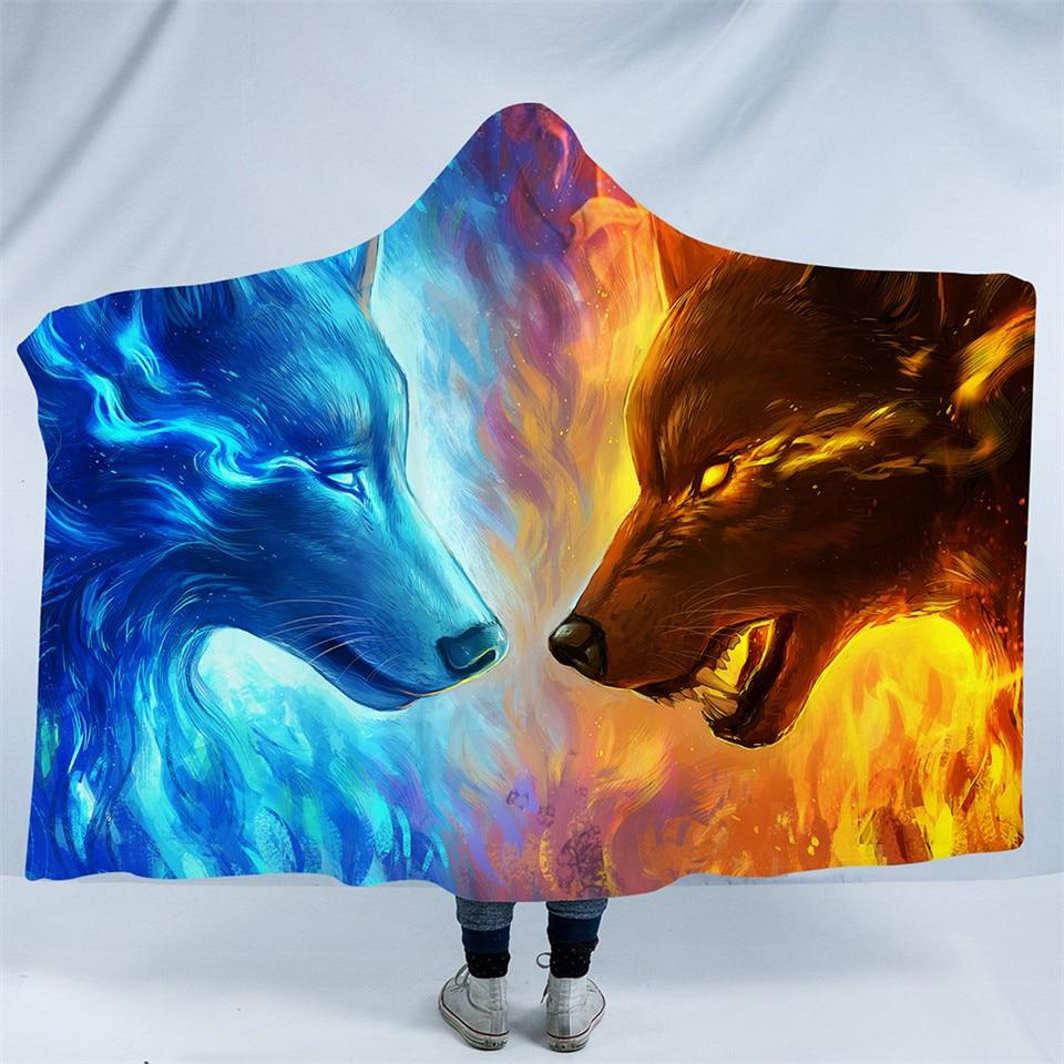Fire and Ice by JoJoesArt  (Wolf Hooded Blanket)