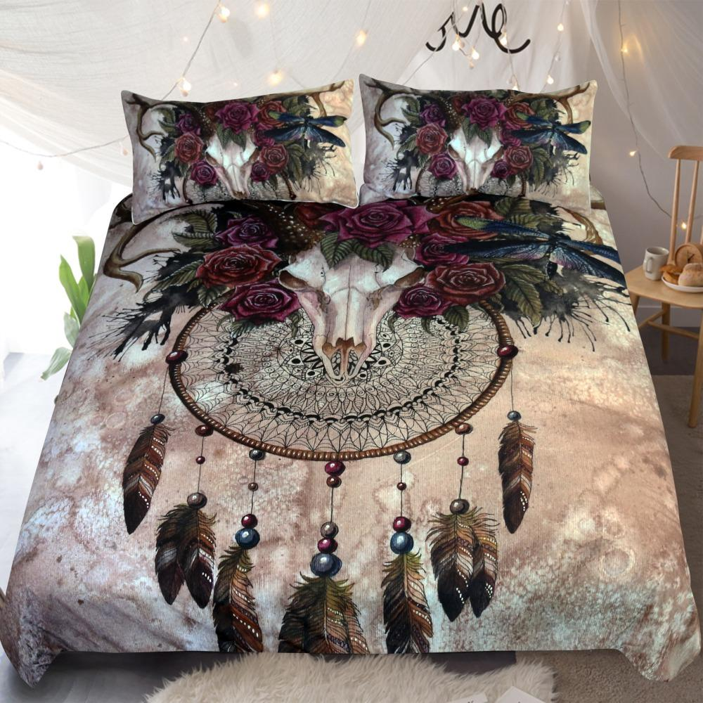 Mystery Skull Dreamcatcher by Sunima-MysteryArt Native Bedding Set