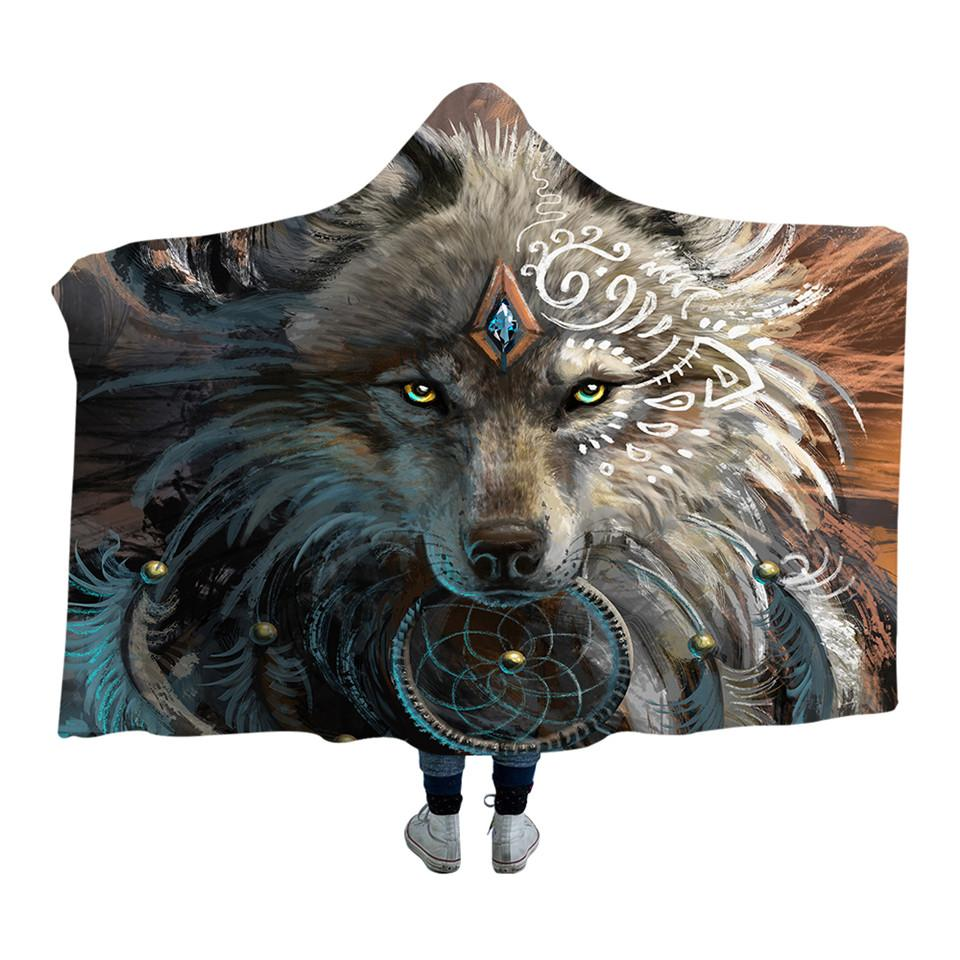 Wolf Warrior by SunimaArt (Hooded Blanket)