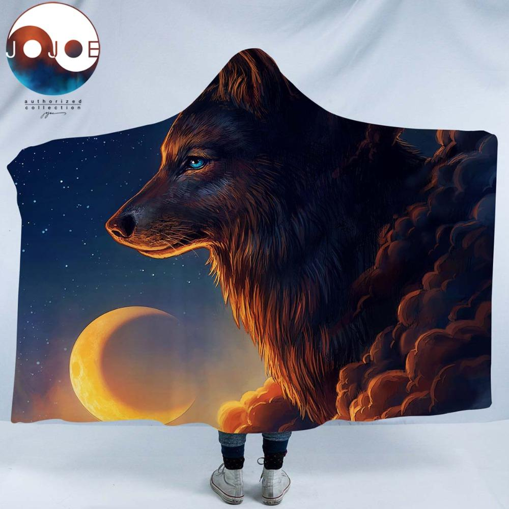 Night Guardian by JoJoesArt (Wolf Hooded Blanket)