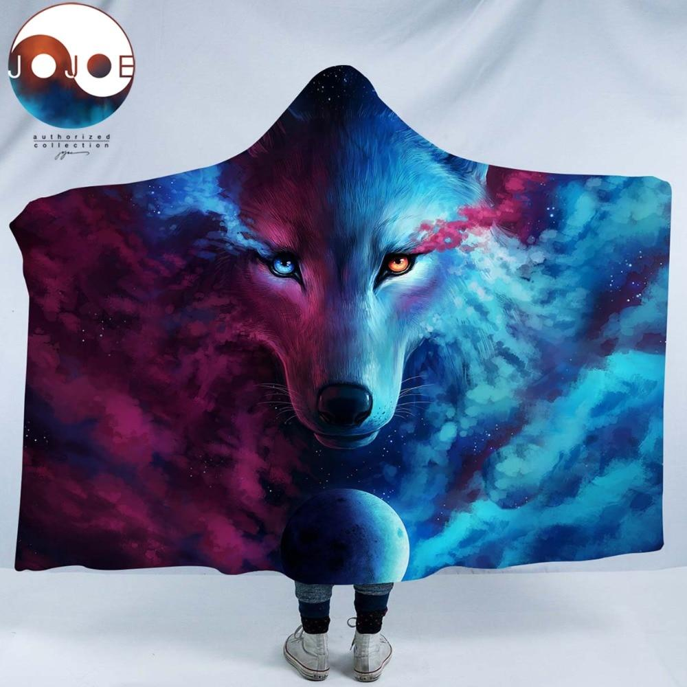 Where Light And Dark Meet by JoJoesArt (Wolf Hooded Blanket)
