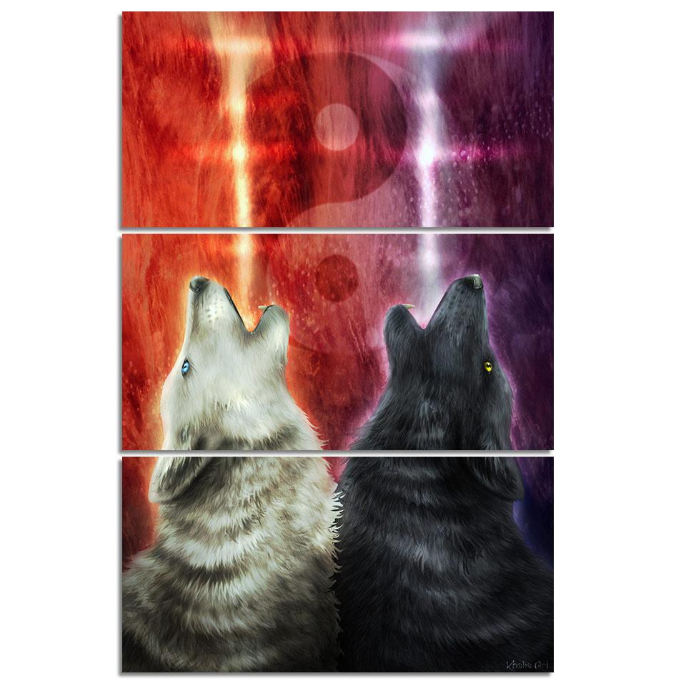 We Wanna Let the World Know by KhaliaArt (3-Piece Canvas Wolf Art)