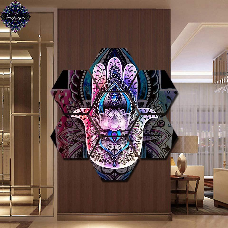 HAMSA by Brizbazaar (7 Piece Canvas Yoga Art)