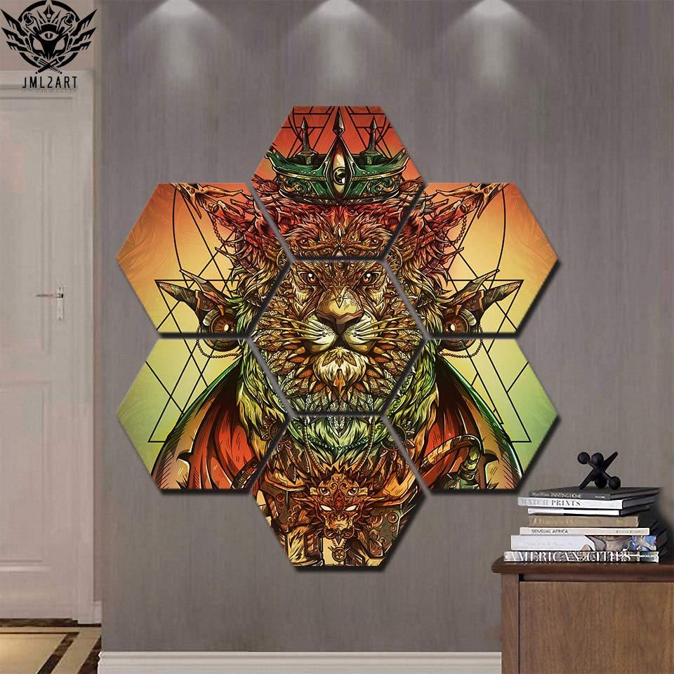 Lion Ras Colors by jml2arts (7 Piece Canvas Art)