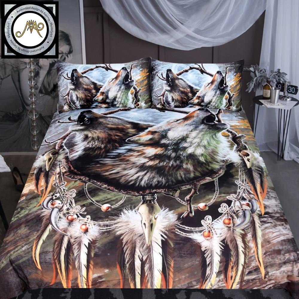 A Song for the Moons Reflection by SunimaArt Wolf Bedding Set