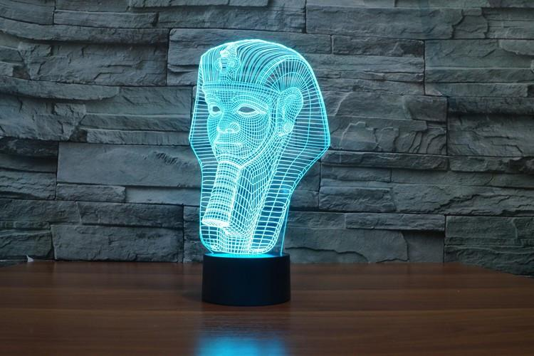 Egyptian Pharaoh Multi-Color 3D Lamp