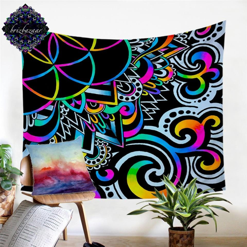 White Doodle Magic by Brizbazaar Tapestry