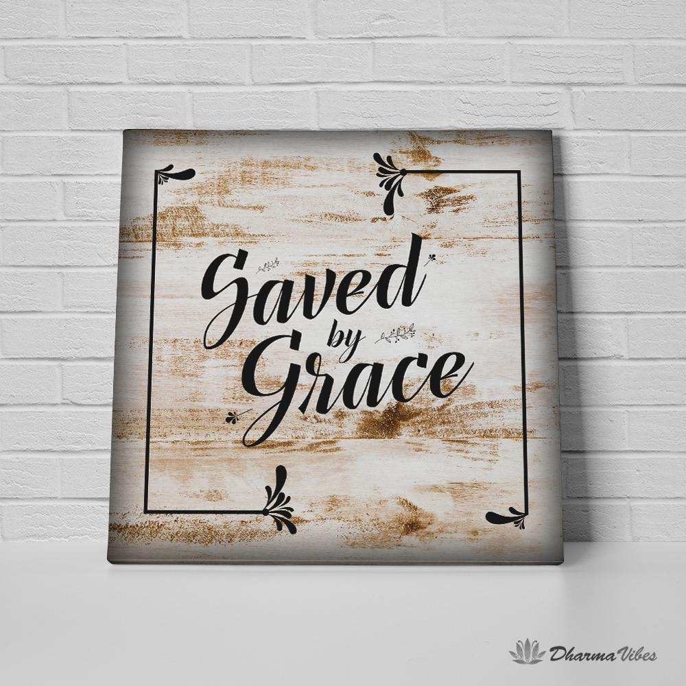 Saved By Grace Faith Canvas Art (Framed & Stretched Ready-to-Hang)