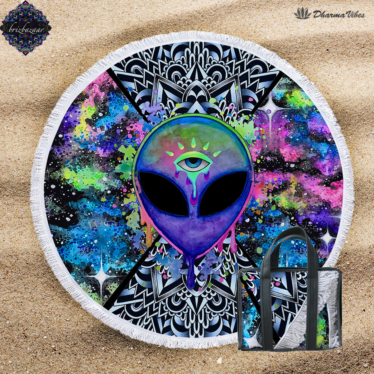 Trippy Alien by Brizbazaar Round Beach Towel