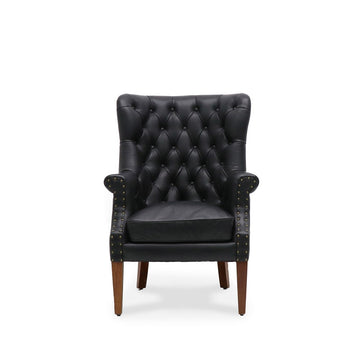 Luca Armchair Black Leather front