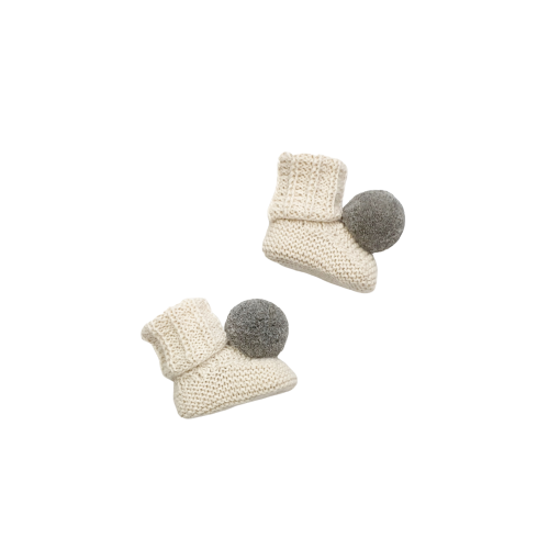 CLEO Pom Booties - Cloud & Silver