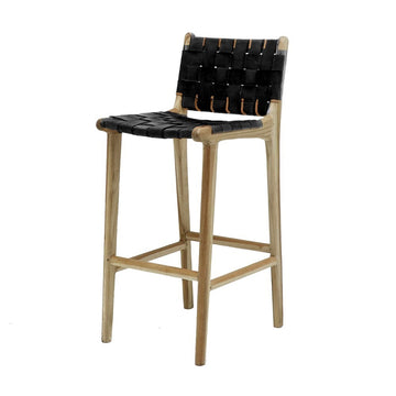 Acapulco bar stool black leather front