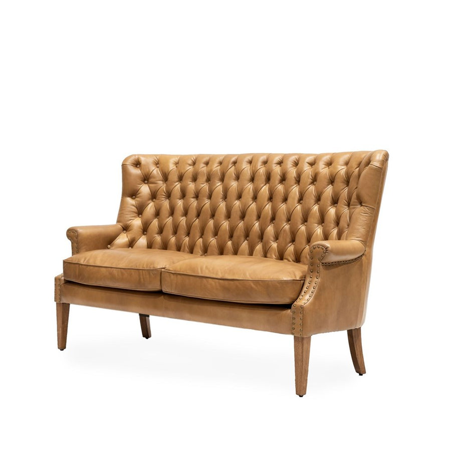 Luca 3 Seat Sofa Tan Leather Side