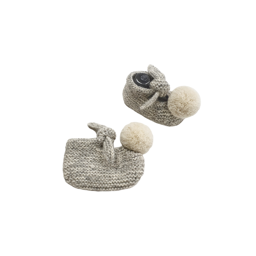 ARLO Booties - Silver & Cloud with Cloud Pom