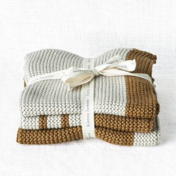 Bronze Stripe Washcloths - Set of Three