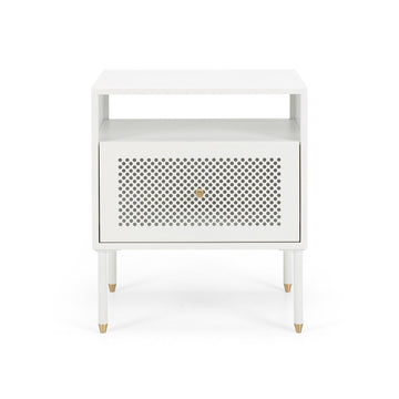 Papawai bedside table one drawer white front