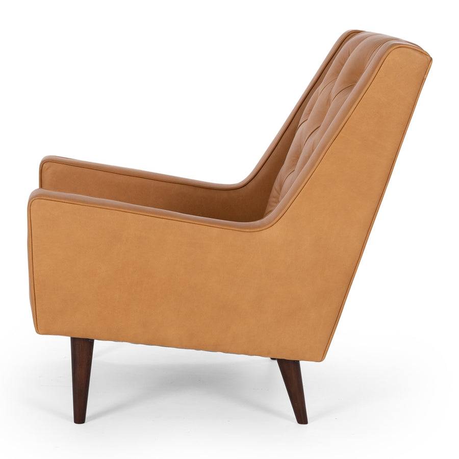 Waiwera Leather Armchair Tan Side