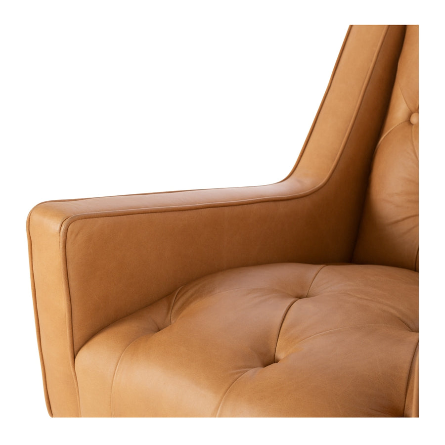 Waiwera Leather Armchair Tan Arm Detail