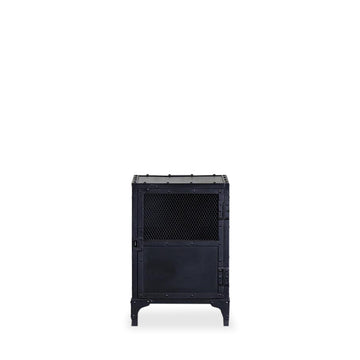 Iron Bank Side Table- Mesh Door