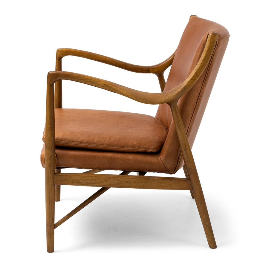 Ponui Armchair Tan Leather Side