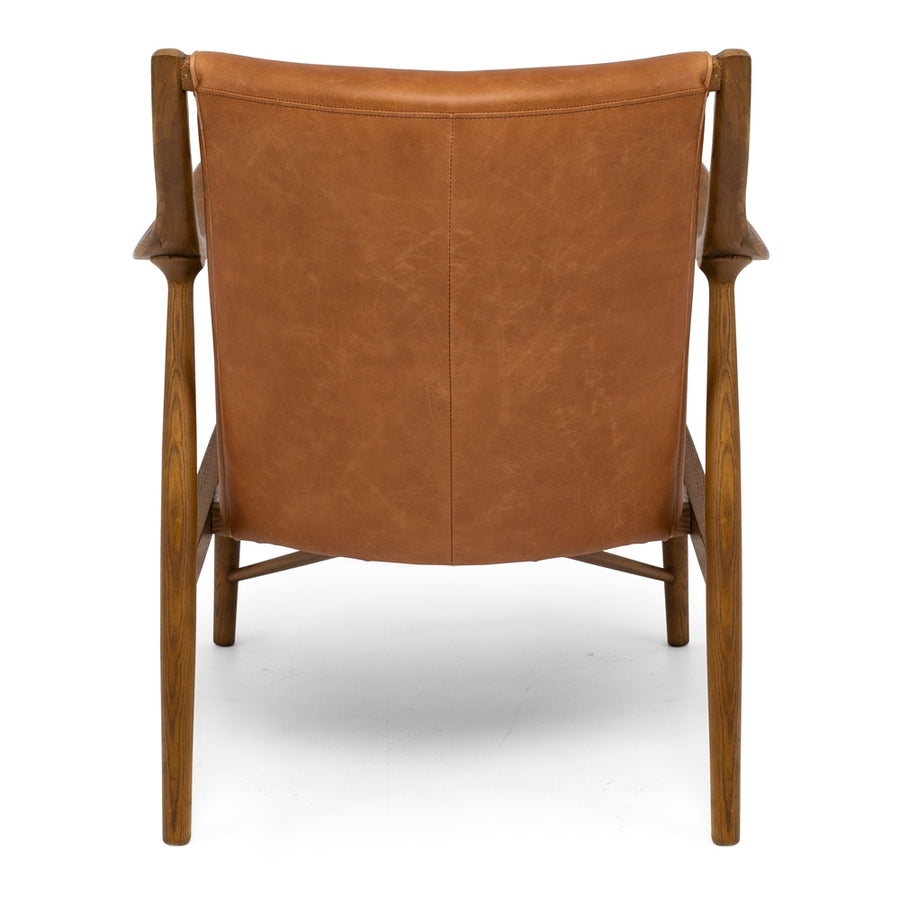 Ponui Armchair Tan Leather Back