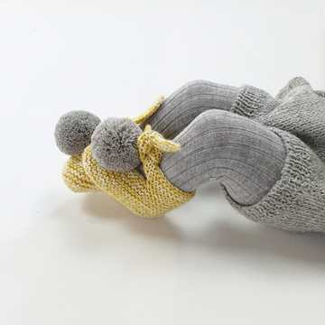 ARLO Booties - Cloud & Acid Yellow with Silver Pom