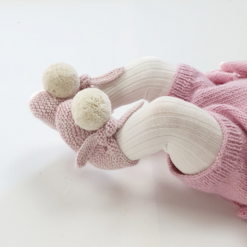 ARLO Booties - Cloud & Candy Pink with Cloud Pom