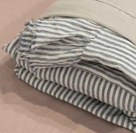 Toetoe Linen Sheet Set with Ruffle - Denim Stripe