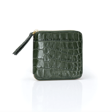 Mini Zip it Up Wallet - Emerald Croc