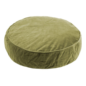 Round Velvet Cushion - Olive Green