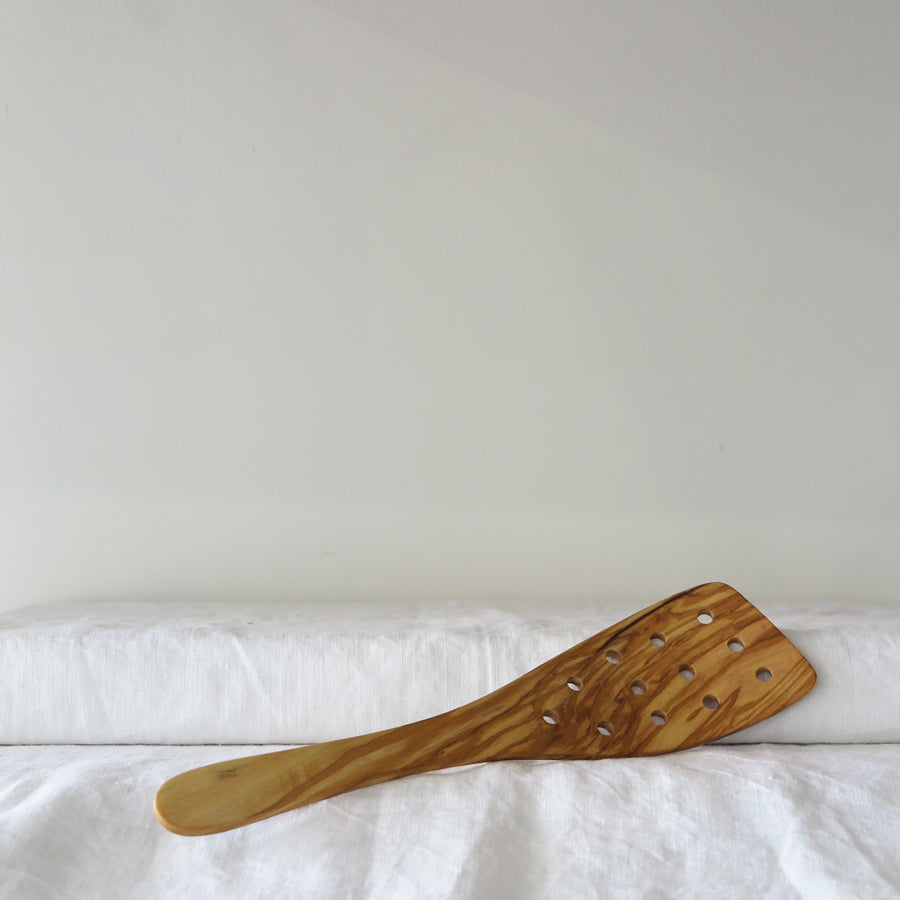 Olive Wood Spatula With Holes