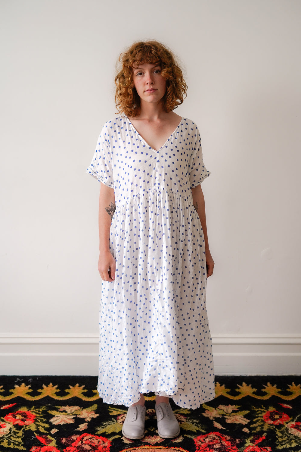 Flossie Dress - Blue Spot Cotton Voile