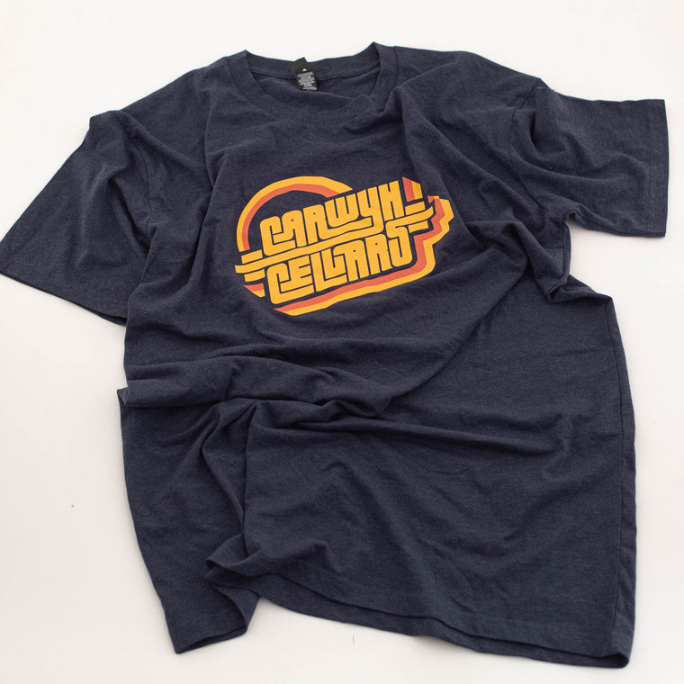 Carwyn Cellars Retro T-Shirt (Navy Marle)