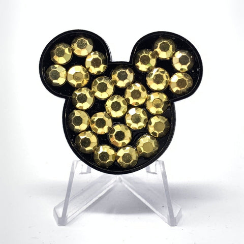 Mouse Acrylic Brooch - Gold Stones