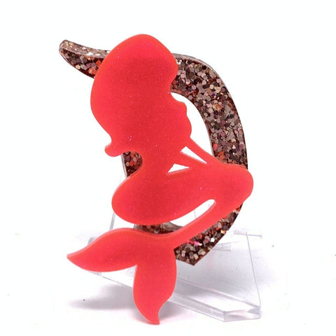 Resin D Brooch - Rose Gold Glitter with Coral Mermaid
