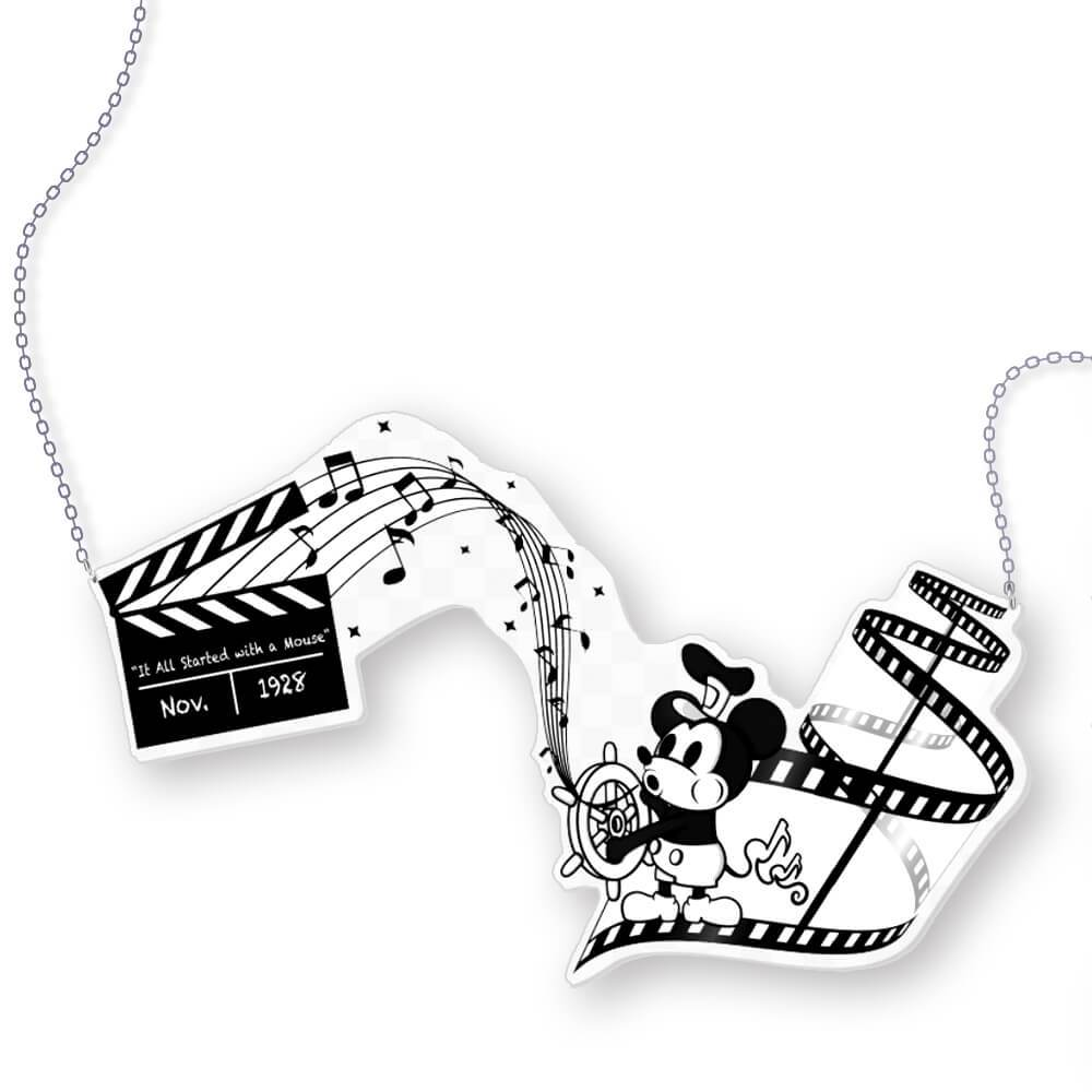 Steamboat Willie Printed Acrylic Statement Necklace
