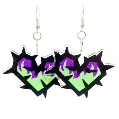 Thorn heart Fire Acrylic Earrings