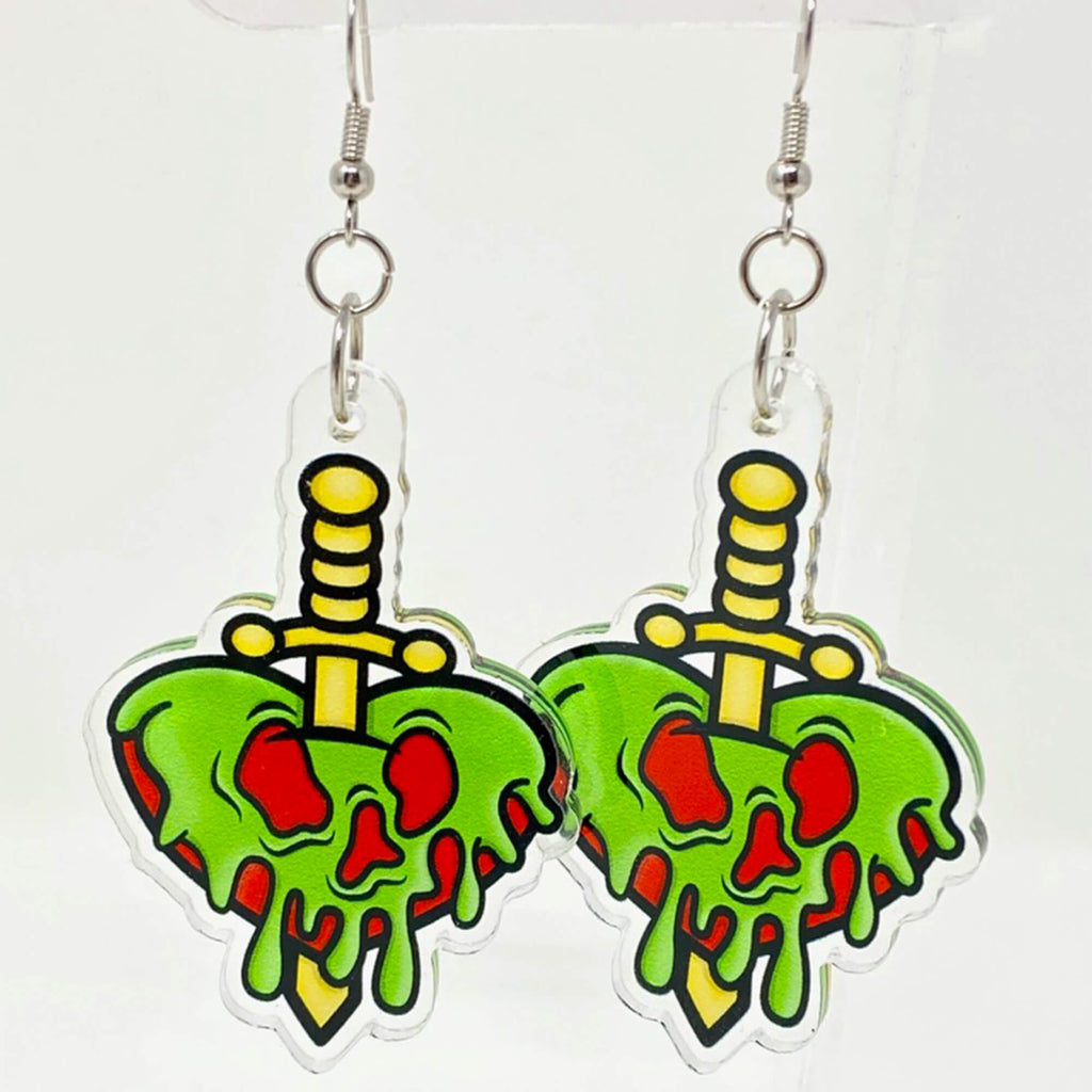 Poison Heart Dagger Acrylic Earrings