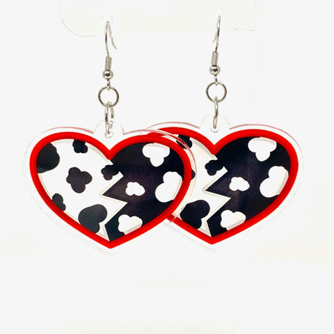 Dalmatian Dame Heart Acrylic Earrings