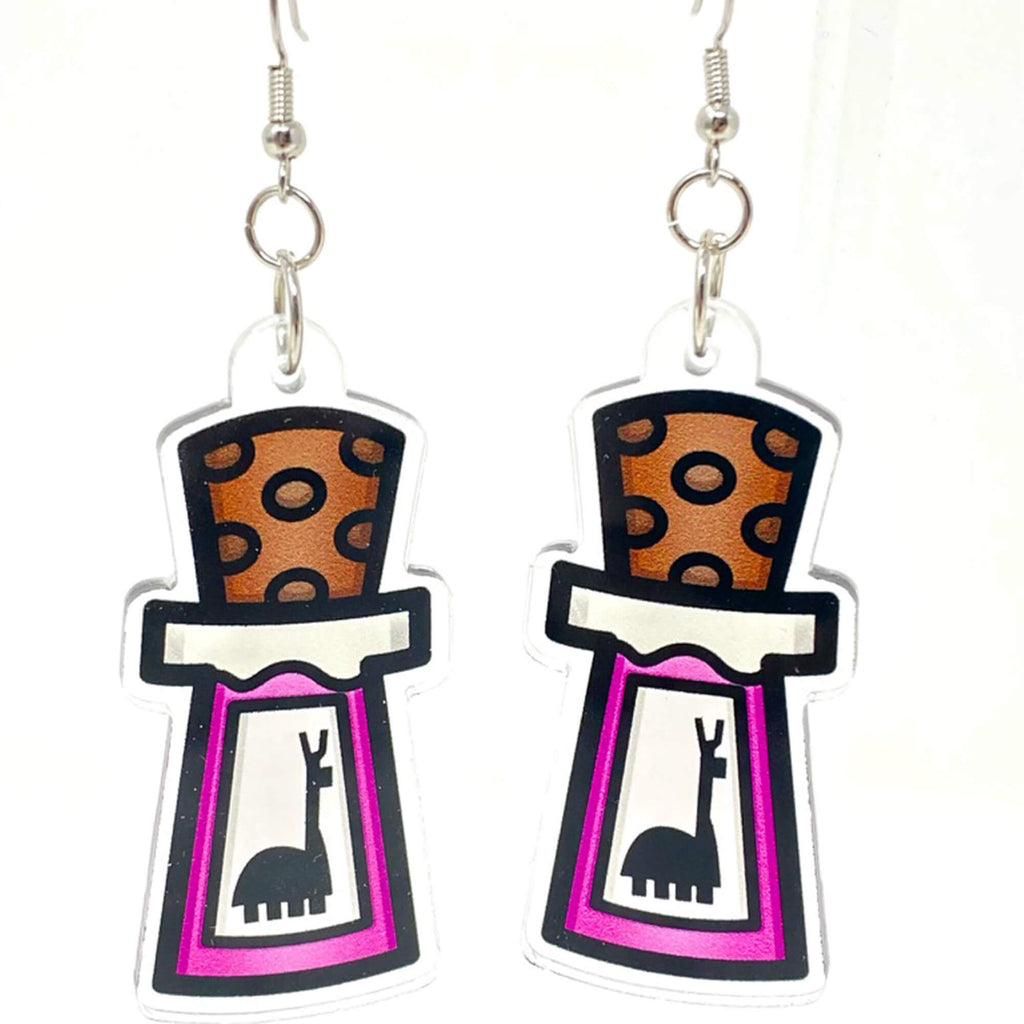 Yzma Poison Llama Bottle Acrylic Earrings