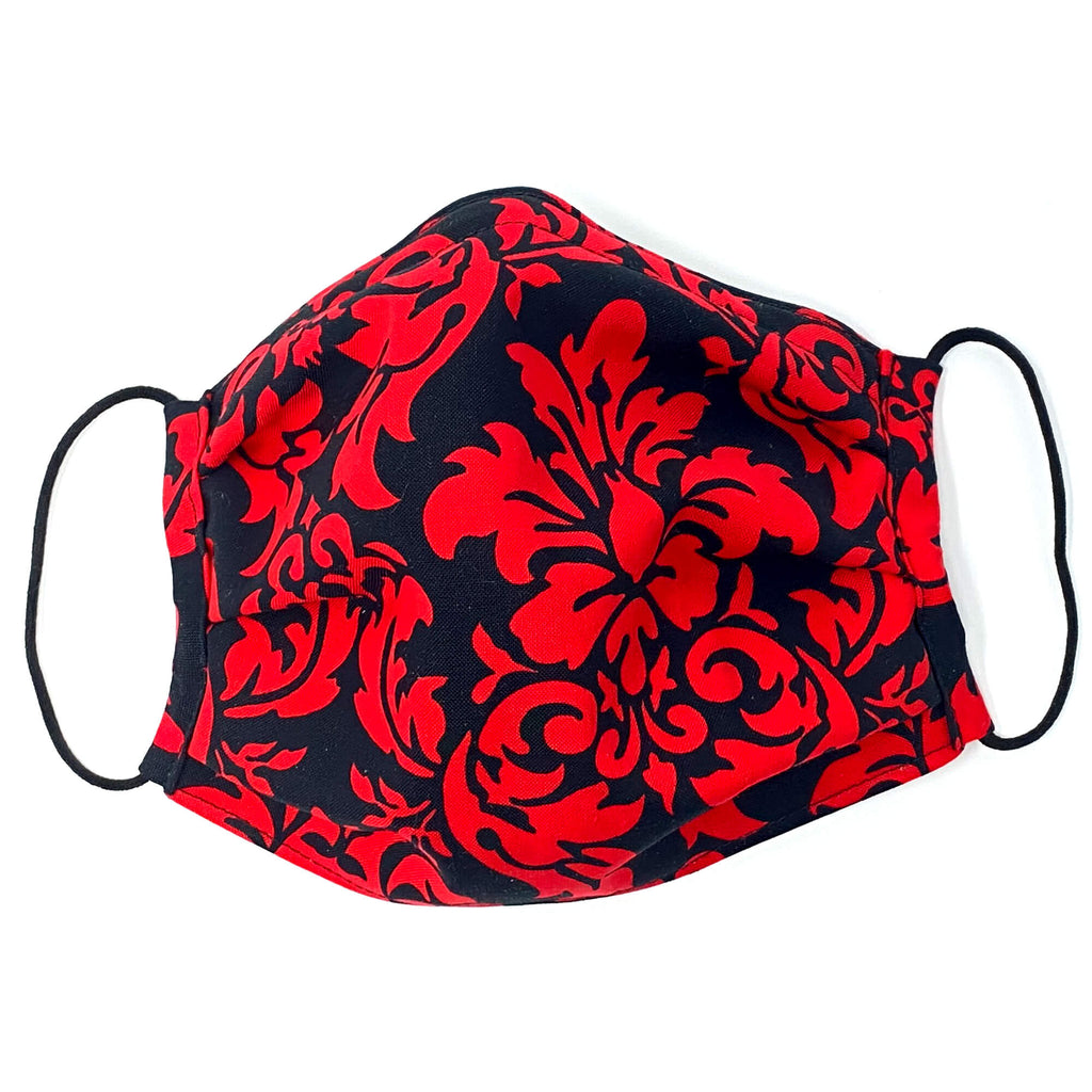 Face Mask - Red and Black Damask