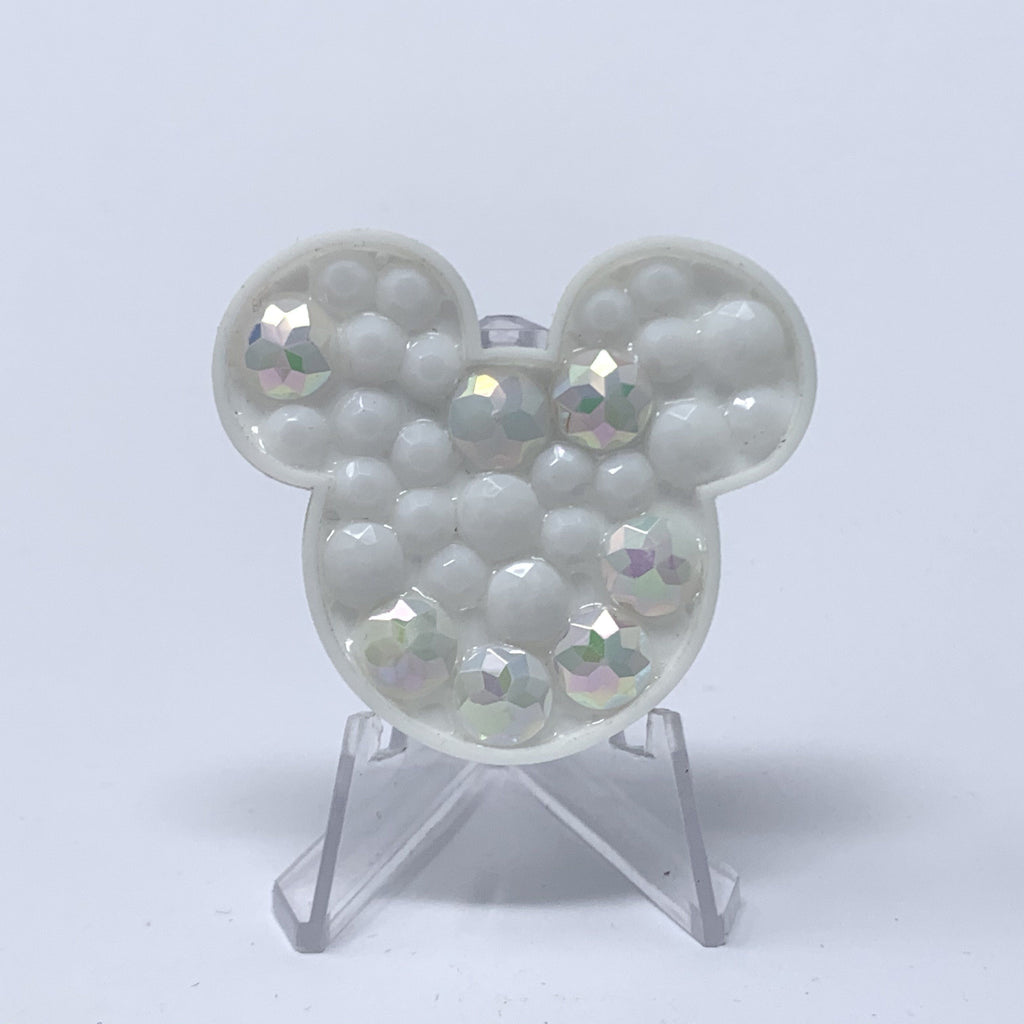 Mouse Acrylic Brooch - White Stones