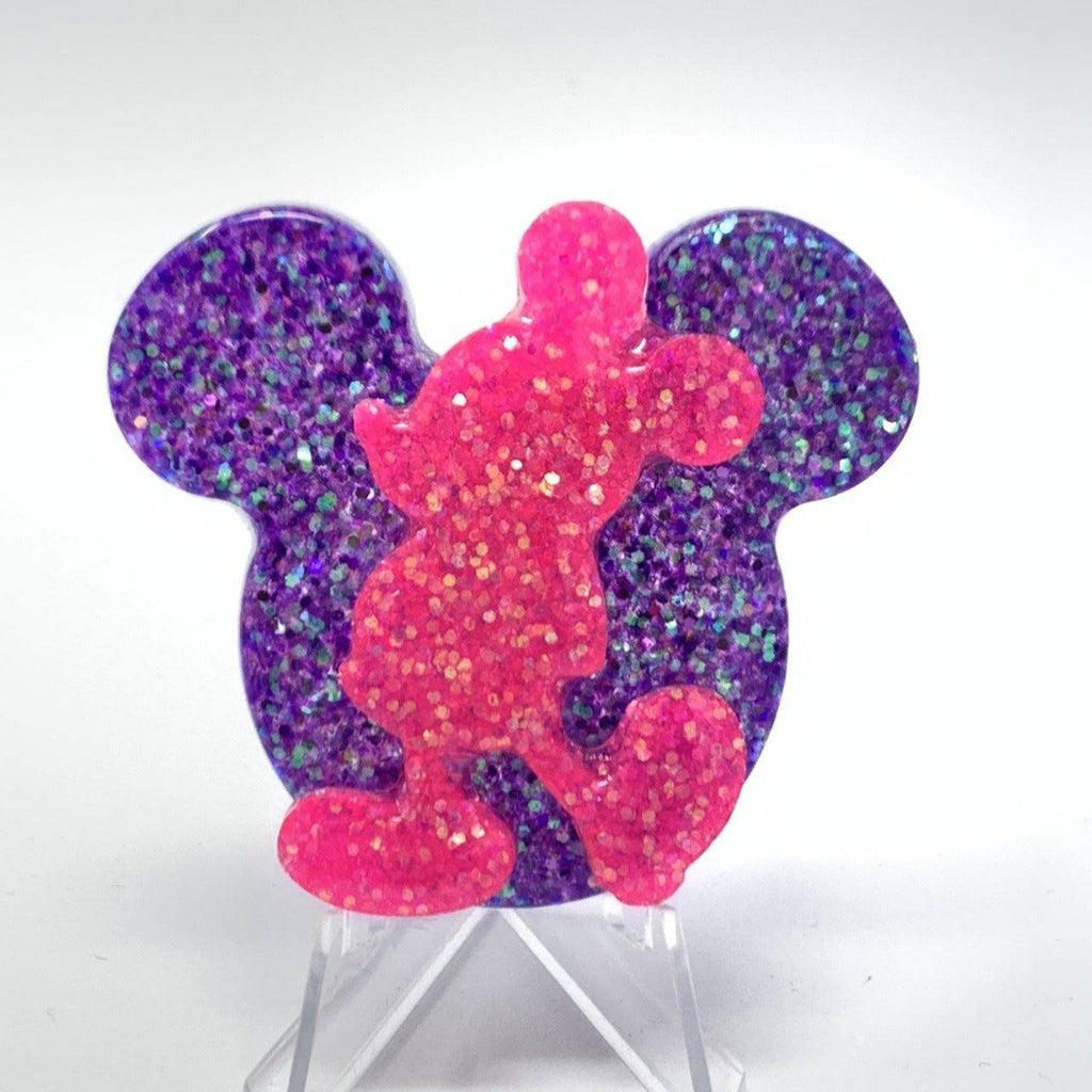 Mouse Head Resin Pin - Purple Glitter with Pink Mouse Silhouette