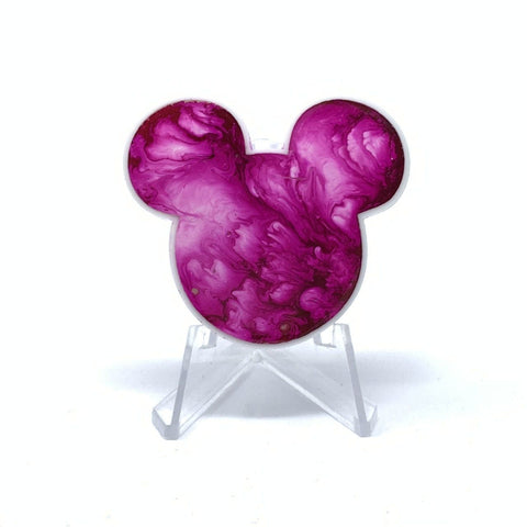 Mouse Acrylic/Resin Brooch - Fuchsia Ink