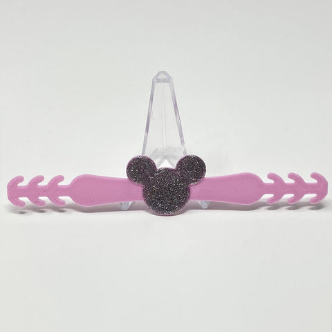 Embellished Mouse Ear Saver - Pink/Silver Glitter