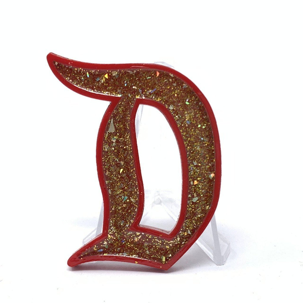 Outline D Acrylic Brooch - Red with Gold Glitter