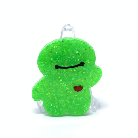 Resin Pin - Bright Green Glitter Baymax