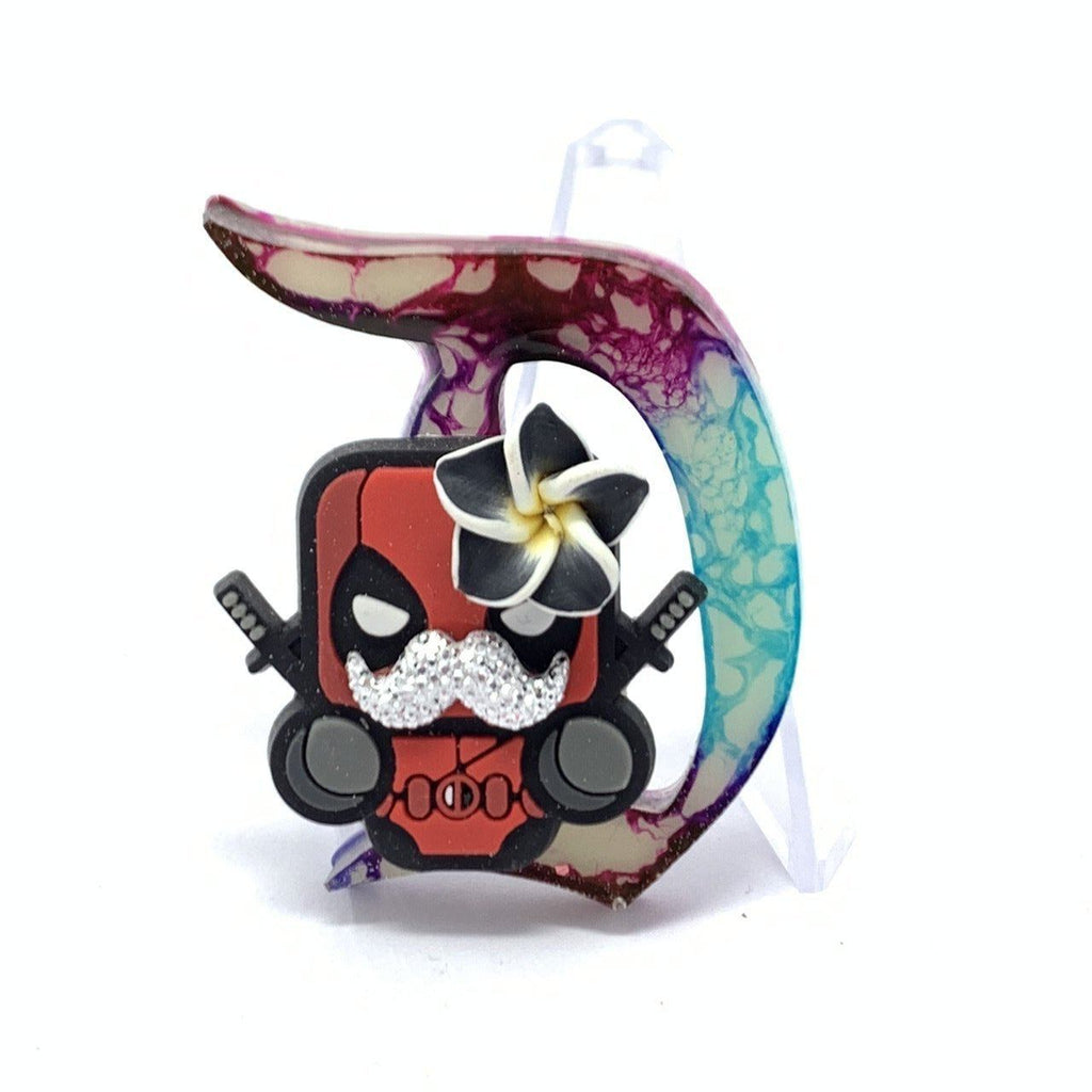 Resin D Pin - Ink with Glow Background and Funny Deadpool