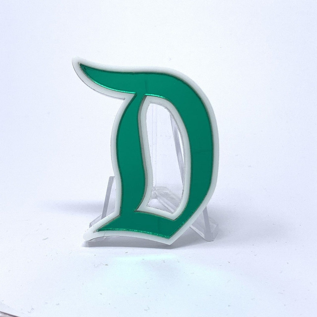 Outline D Acrylic Brooch - Green Mirror
